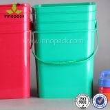 Secchi di plastica della benna da 5 galloni con il secchio rettangolare la benna delle maniglie e dei coperchi del secchio di plastica nero quadrato di immagazzinamento in