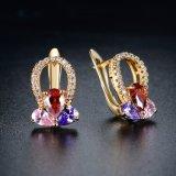 Los pendientes más nuevos del Zircon del cobre plateado del oro de la joyería de la manera del diseño