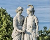 Statua naturale della pietra di angelo del granito