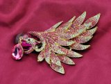 Mode d'or plaqué or Rhinestone Peacock broche