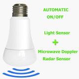 Sensor de doppler de microondas automático sem fio E14 E27 Luz da lâmpada LED inteligente