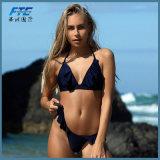 Opdrukoefening Opgevulde Micro- van het Zwempak van het Garen van de Bikini van de Bustehouder Vastgestelde Slanke Vrouwen