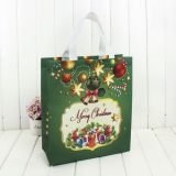 Navidad papel impreso decorativo bolsa de regalo en la acción