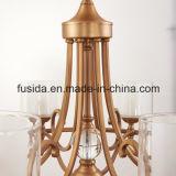 Luz de bronze moderna nova do pendente do hotel do candelabro de Matt do cristal para a sala de visitas