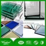 Double usine en verre teintée isolante de guichet de tissu pour rideaux de PVC assurant Windows