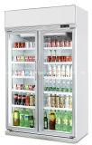 В ВЕРТИКАЛЬНОМ ПОЛОЖЕНИИ две стеклянные двери витрина холодильник