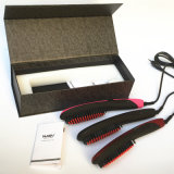 2016 Professional New Nasv Hair Straightener com pincel Styling Tools Ionic Straightening Ceramics Iron Comb com display LCD