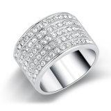 De Ring van de Juwelen van de Manier van het witgoud met de Bergkristallen van het Kristal
