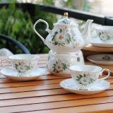 Jogo de café cerâmico do chá de China de osso da multa do jogo de chá do jogo de jantar de China de osso