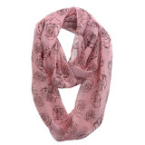 Les filles Fashion Rose imprimé de polyester en mousseline de printemps de l'infini foulard (YKY1109)