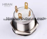 19mmのリングLEDおよび照らされた力の記号の防水押しボタンスイッチ