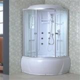 Deslizamento em volta do branco de vidro da cabine do chuveiro do frame completo do banheiro