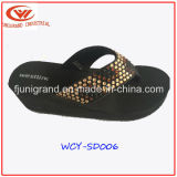 Mujeres de la manera de cuña del deslizador de las sandalias Calzado para Damas