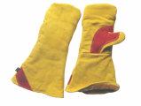 Коровы Split кожаные перчатки-6523 Fingerless сварочных работ