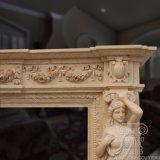 Statue femminili di Fatures della mensola del camino di marmo del camino intagliate mano di Gorgeoous sugli alberini