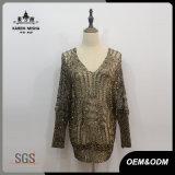 Maglione lavorato a maglia scintilla allentata sexy del V-Collo delle donne