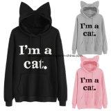 Пуловеров печати фуфайки Kawaii Hoodie уха кота печати лозунга кота фуфайки женщин втулка вскользь &120 новых черных милых длинняя