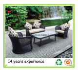 Muebles de ratán sofá con almohadones de jardín al aire libre
