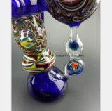 7.09 pouces de pipe en verre bleue pour la pipe de fumée de tabac de filtre