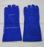Голубые перчатки работы заварки Split кожи коровы теплостойкNp