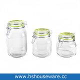 Bocca larga del vaso di vetro a strisce con il coperchio chiuso ermeticamente del metallo