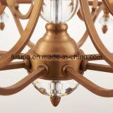 Lumière pendante cristal de verre de Matt d'hôtel en bronze moderne neuf de lustre pour la salle de séjour