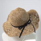 تبن [سون] قبّعة مع نساء فصل صيف شاطئ قبّعة يوسع حافة