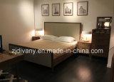 Итальянские ткани современной деревянной мебелью кровать из натуральной кожи