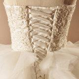 Trägerloses bördelndes gekräuseltes Ballkleid-Hochzeits-Kleid