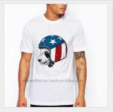 L'illustrazione bianca dell'OEM ha stampato le magliette 100% degli uomini normali poco costosi del cotone