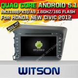 Auto DVD GPS des Witson Android-5.1 für Honda neues bürgerliches 2012 mit Chipset 1080P 16g Support des ROM-WiFi 3G Internet-DVR (A5728)