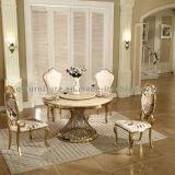 Mesa lateral de pintura dourada com top de mármore artificial