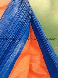 A alta qualidade terminou a folha alaranjada azul de encerado do PE, tampa poli de encerado