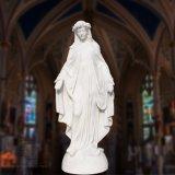 백색 대리석 St 메리 동상, 종교적인 동상 조각품 T-6810