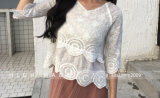 여자의 섹시한 크로셰 뜨개질 꽃 레이스 느슨한 우연한 블라우스 t-셔츠 구렁 위로 톱 커버
