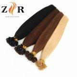 El doble de color oscuro cabello brasileño llamado Punta de la U de extensión de cabello humano.