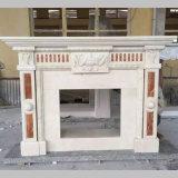 Camini di pietra intagliati naturali di marmo beige crema di Marfil