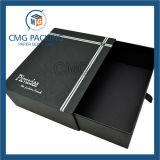 Черная картонная коробка ящика с тесемкой