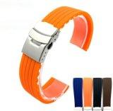 4 цветов силиконового каучука смотреть ремешок Band развертывания водонепроницаемый Watchband плечевой лямки ремня безопасности 18мм, 20 мм, 22 мм, 24 мм Bandas де Reloj