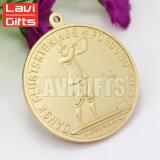 O estilo novo da venda por atacado quente da venda anunciou a medalha enevoada chapeada gravada 3D da concessão da lembrança do metal da raça do esporte do esmalte do ouro do costume