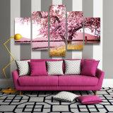 Hauptdekor-blühendes Blumen-Baum-Segeltuch, das rosafarbene Sprung-Anblick-Wand-Kunstcuadros-Dekoration-Abbildungen für Wohnzimmer anstreicht