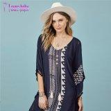 2017 neuer Entwurfs-europäischer Art-Blusen-Frauen-KittelBeachwear