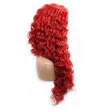 Фронта шнурка Dlme парик волос мягко красного курчавого синтетический