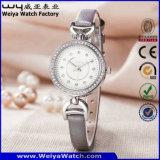 Montre-bracelet occasionnelle de dames de quartz de courroie en cuir (Wy-079A)