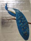 ホーム装飾のためのハンドメイドの銀箔の孔雀の油絵