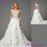Vorzügliches Bördeln über Illusion-Tulle-Kombinations-Hochzeits-Kleid