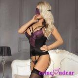 en stock plus la lingerie sexy plus bustier de lacet pourpré de taille avec le RIM de soutien-gorge
