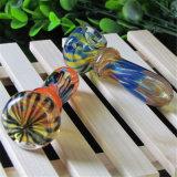 Tubulação de vidro da colher da tubulação colorida de vidro de vidro da mão do tabaco da listra da tubulação de água da tubulação