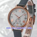 La montre personnalisent la montre-bracelet de dames de courroie en cuir (Wy-17023)