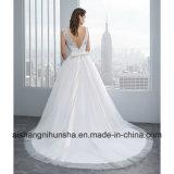 Платье сексуального Backless шнурка платья венчания Applique длиннего Bridal